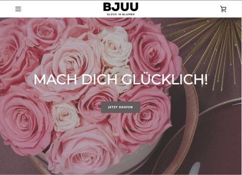 ein Bild der Startseite von BJUU zeigt ein Produkt mit langhaltenden Rosen